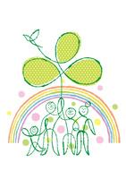 虹の中の三世帯家族と大きな三つ葉と鳥