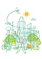 都会の街中に立つ人と太陽と小鳥 02438000209| 写真素材・ストックフォト・画像・イラスト素材|アマナイメージズ