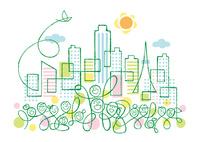都会の街中の色々な人達と太陽と小鳥 02438000213| 写真素材・ストックフォト・画像・イラスト素材|アマナイメージズ