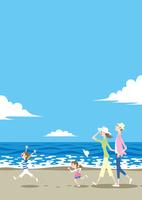 渚で散歩する家族