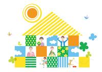 家のコンポジションの中の三世帯家族と犬 02438000217| 写真素材・ストックフォト・画像・イラスト素材|アマナイメージズ