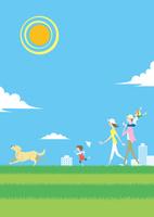 快晴の芝の丘を散歩する家族と犬 02438000218| 写真素材・ストックフォト・画像・イラスト素材|アマナイメージズ