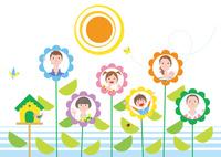 花の中の三世帯家族と鳥の家 02438000220| 写真素材・ストックフォト・画像・イラスト素材|アマナイメージズ