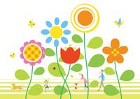 大きな花々の中を散歩する家族と犬 02438000233| 写真素材・ストックフォト・画像・イラスト素材|アマナイメージズ
