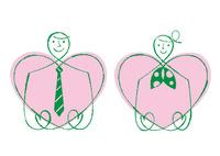 ハートを持つネクタイの男性とスカーフの女性 02438000235| 写真素材・ストックフォト・画像・イラスト素材|アマナイメージズ