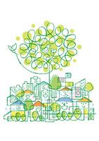 街の様々な家と鳥の家族が住む大きな木 02438000242| 写真素材・ストックフォト・画像・イラスト素材|アマナイメージズ