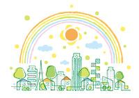 街の様々な家とマンションと虹と太陽