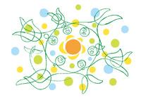 太陽を中心に手をつないで輪になった三世帯家族と鳥 02438000248| 写真素材・ストックフォト・画像・イラスト素材|アマナイメージズ
