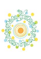 太陽を中心に輪になった保育士と子供達  02438000253| 写真素材・ストックフォト・画像・イラスト素材|アマナイメージズ