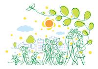 街を散歩する様々な人達と太陽と鳥