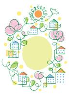 鳥と太陽と花の咲く街の広場   02438000263| 写真素材・ストックフォト・画像・イラスト素材|アマナイメージズ