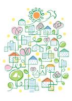 鳥と太陽と花々の咲く街 02438000264| 写真素材・ストックフォト・画像・イラスト素材|アマナイメージズ