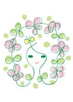 花に囲まれたナチュラルな女性のイメージ 02438000270| 写真素材・ストックフォト・画像・イラスト素材|アマナイメージズ