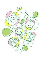 花の顔の家族とチョウチョ