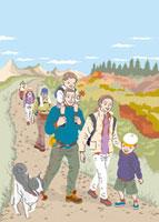 紅葉の山道を犬を連れて歩くファミリーや人々