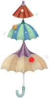 連なる三本の傘とボール