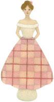 チェックのスカートの女性の人形