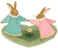 ダンスをするウサギのカップル