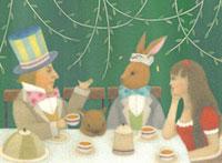 女の子と男性とウサギとネズミのお茶会
