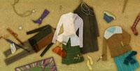 床に散らばる洋服とファッション小物