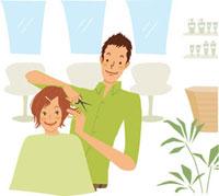 ヘアサロンで髪を切る