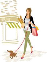 犬のお散歩をしながらお買い物