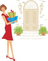 プレゼントボックスを持つ女性