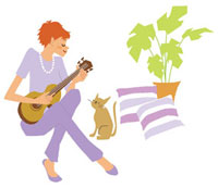 演奏する女性とネコ