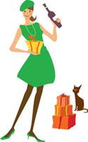 プレゼントボックスとワインを持つ女性