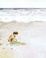 夏の海の砂浜と砂で遊ぶ女の子