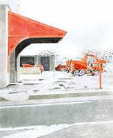 工事と駐車場 02461000009| 写真素材・ストックフォト・画像・イラスト素材|アマナイメージズ