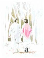 散歩している熟年夫婦