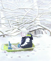 枯木と雪とソリに乗る子供