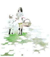草地を歩くピクニックへ行く姉妹