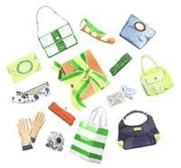 カラフルなバッグとシューズとプレゼント 02461000029| 写真素材・ストックフォト・画像・イラスト素材|アマナイメージズ
