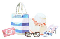 夏らしいバッグと帽子とサンダルとサングラス