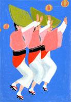 阿波踊りをしている3人の女性
