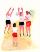 バレーボールをしている4人の女性