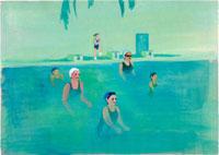 室内プールの中で運動をしている女性