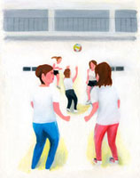 バレーボールをしている女性たち