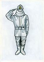 敬礼する消防員 02462000017| 写真素材・ストックフォト・画像・イラスト素材|アマナイメージズ
