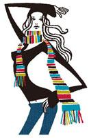 カラフルなマフラーをした20代女性 02463000001| 写真素材・ストックフォト・画像・イラスト素材|アマナイメージズ