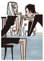食事中、会話をしているカップル 02463000003| 写真素材・ストックフォト・画像・イラスト素材|アマナイメージズ