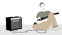 座り込んでギターを抱えている男性 02463000023| 写真素材・ストックフォト・画像・イラスト素材|アマナイメージズ