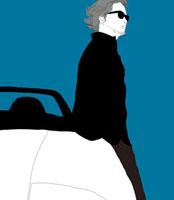 オープンカーにもたれて立っているサングラスをかけた男性