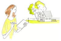木のある家とノートを持った女性