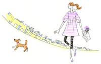 花が入ったかごを持って歩いている女性と犬