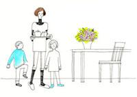 お茶の用意をしている女性と子供達 02463000033| 写真素材・ストックフォト・画像・イラスト素材|アマナイメージズ