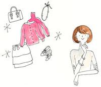 洋服やバッグ、アクセサリーを思い浮かべている女性 02463000034| 写真素材・ストックフォト・画像・イラスト素材|アマナイメージズ