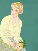 花を持って腰掛けている女性 02463000036| 写真素材・ストックフォト・画像・イラスト素材|アマナイメージズ